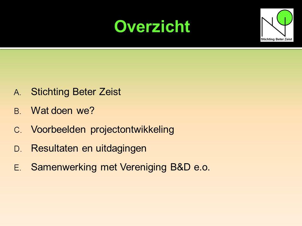 A. Stichting Beter Zeist B. Wat doen we. C. Voorbeelden projectontwikkeling D.