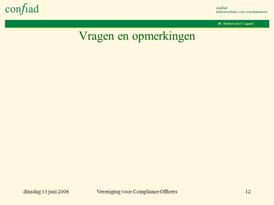 dinsdag 13 juni 2006Vereniging voor Compliance Officers12 Vragen en opmerkingen