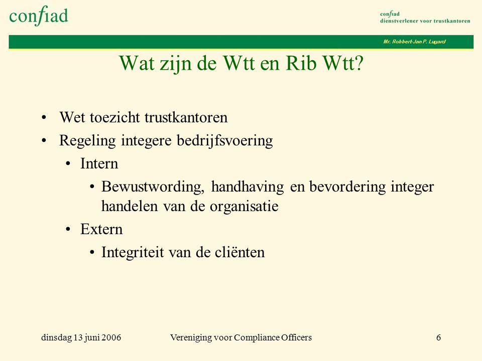 dinsdag 13 juni 2006Vereniging voor Compliance Officers6 Wat zijn de Wtt en Rib Wtt.