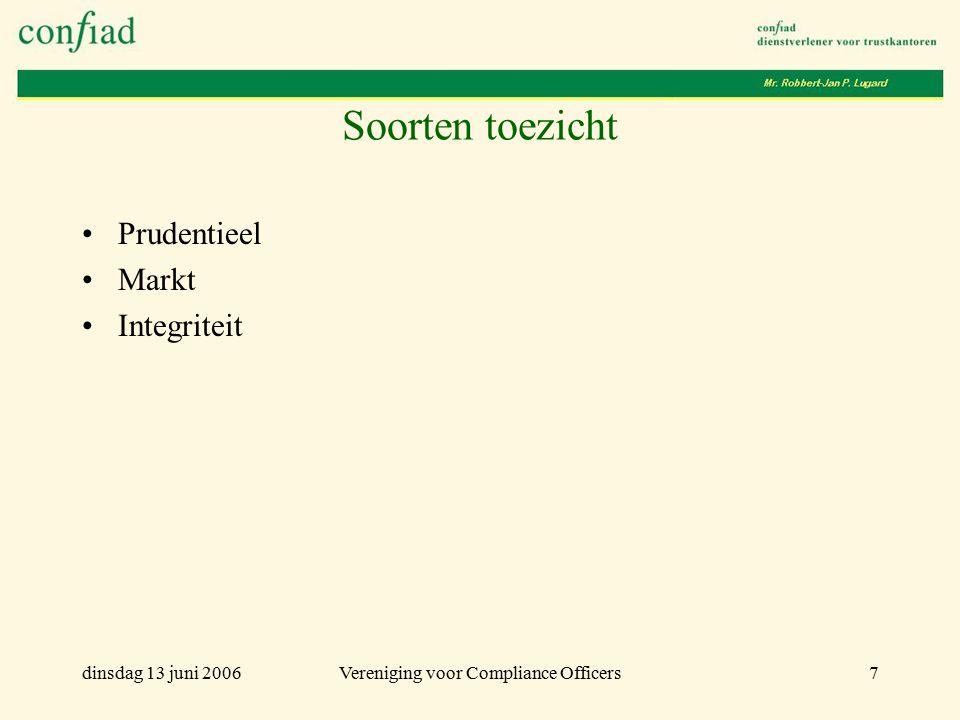 dinsdag 13 juni 2006Vereniging voor Compliance Officers7 Soorten toezicht Prudentieel Markt Integriteit