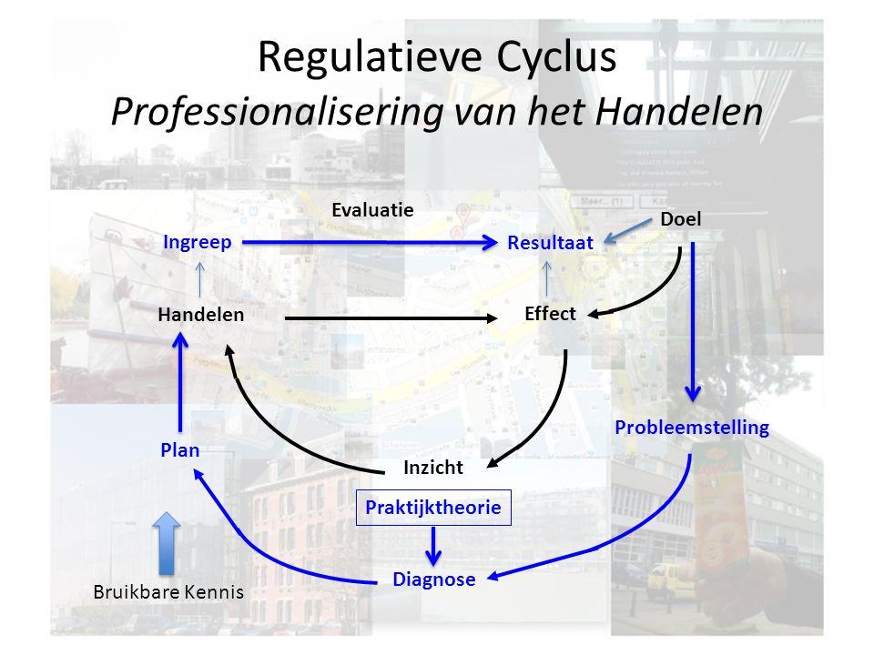 Regulatieve Cyclus Professionalisering van het Handelen Doel Effect Handelen Inzicht Ingreep Diagnose Plan Evaluatie Probleemstelling Resultaat Bruikbare Kennis Praktijktheorie