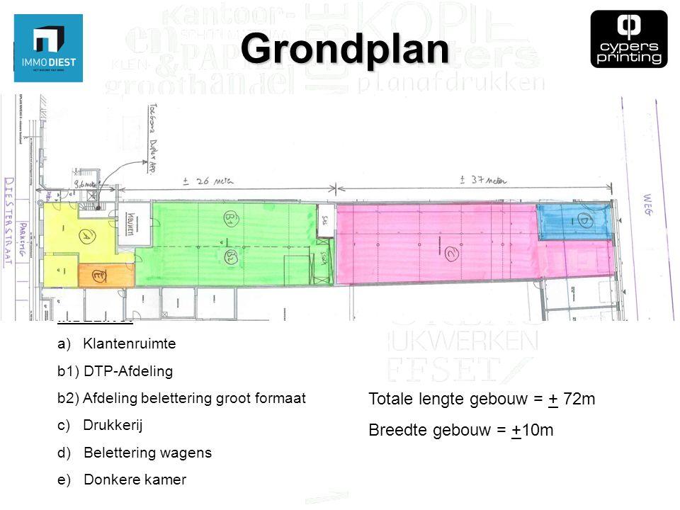 Grondplan INDELING: a)Klantenruimte b1) DTP-Afdeling b2) Afdeling belettering groot formaat c) Drukkerij d) Belettering wagens e) Donkere kamer Totale