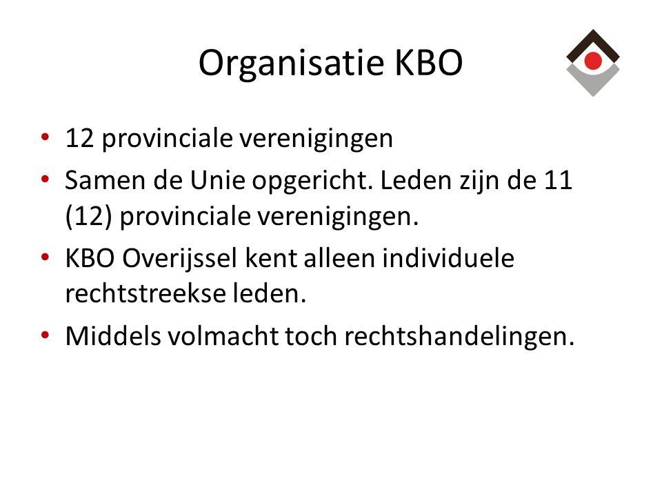 Organisatie KBO 12 provinciale verenigingen Samen de Unie opgericht. Leden zijn de 11 (12) provinciale verenigingen. KBO Overijssel kent alleen indivi