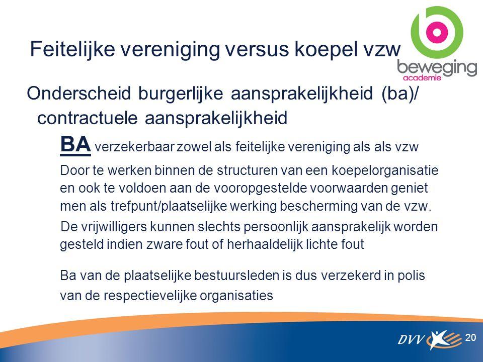 Feitelijke vereniging versus koepel vzw Onderscheid burgerlijke aansprakelijkheid (ba)/ contractuele aansprakelijkheid BA verzekerbaar zowel als feitelijke vereniging als als vzw Door te werken binnen de structuren van een koepelorganisatie en ook te voldoen aan de vooropgestelde voorwaarden geniet men als trefpunt/plaatselijke werking bescherming van de vzw.