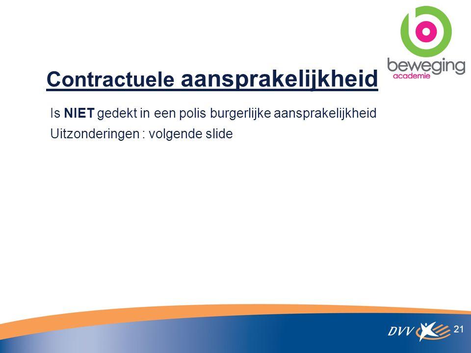 Contractuele aansprakelijkheid Is NIET gedekt in een polis burgerlijke aansprakelijkheid Uitzonderingen : volgende slide 21