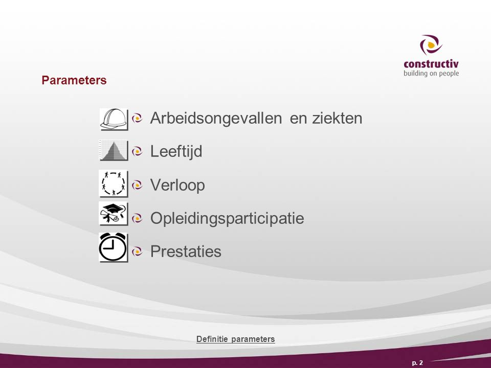 Parameters Arbeidsongevallen en ziekten Leeftijd Verloop Opleidingsparticipatie Prestaties p.