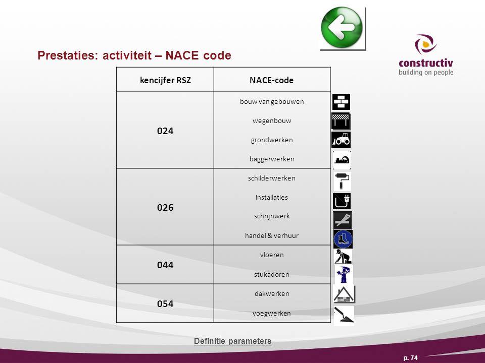 Prestaties: activiteit – NACE code p.