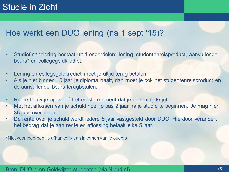 Studie in Zicht Hoe werkt een DUO lening (na 1 sept '15)? Studiefinanciering bestaat uit 4 onderdelen: lening, studentenreisproduct, aanvullende beurs