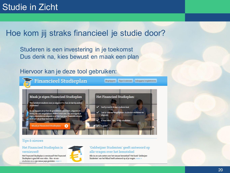 Studie in Zicht 20 Hoe kom jij straks financieel je studie door? Studeren is een investering in je toekomst Dus denk na, kies bewust en maak een plan