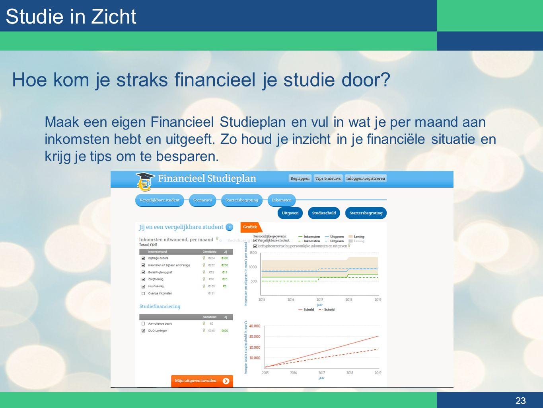 Studie in Zicht 23 Hoe kom je straks financieel je studie door? Maak een eigen Financieel Studieplan en vul in wat je per maand aan inkomsten hebt en