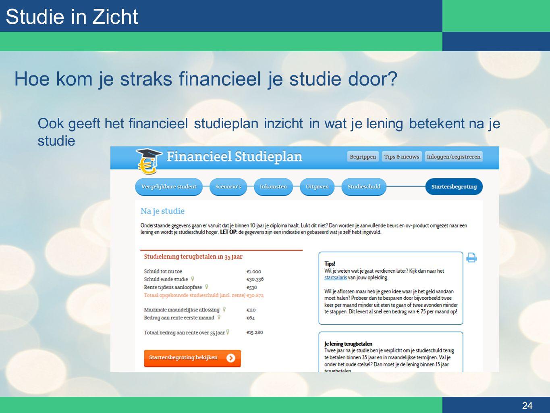 Studie in Zicht 24 Hoe kom je straks financieel je studie door? Ook geeft het financieel studieplan inzicht in wat je lening betekent na je studie