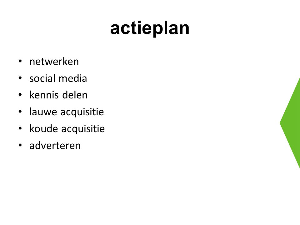 actieplan netwerken social media kennis delen lauwe acquisitie koude acquisitie adverteren