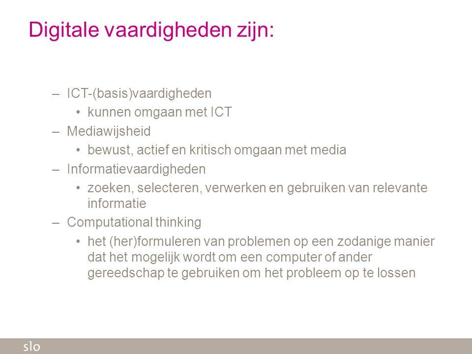 Digitale vaardigheden zijn: –ICT-(basis)vaardigheden kunnen omgaan met ICT –Mediawijsheid bewust, actief en kritisch omgaan met media –Informatievaard