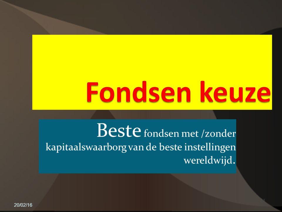 Beste fondsen met /zonder kapitaalswaarborg van de beste instellingen wereldwijd. 20/02/16 24