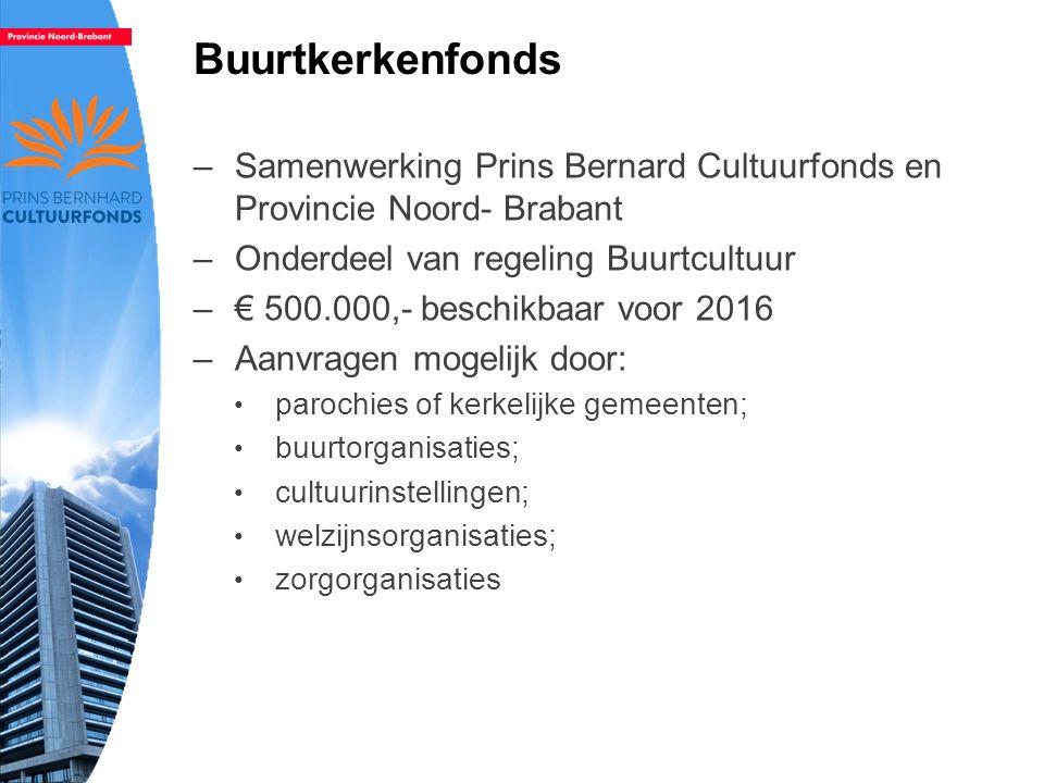 Buurtkerkenfonds –Samenwerking Prins Bernard Cultuurfonds en Provincie Noord- Brabant –Onderdeel van regeling Buurtcultuur –€ 500.000,- beschikbaar voor 2016 –Aanvragen mogelijk door: parochies of kerkelijke gemeenten; buurtorganisaties; cultuurinstellingen; welzijnsorganisaties; zorgorganisaties