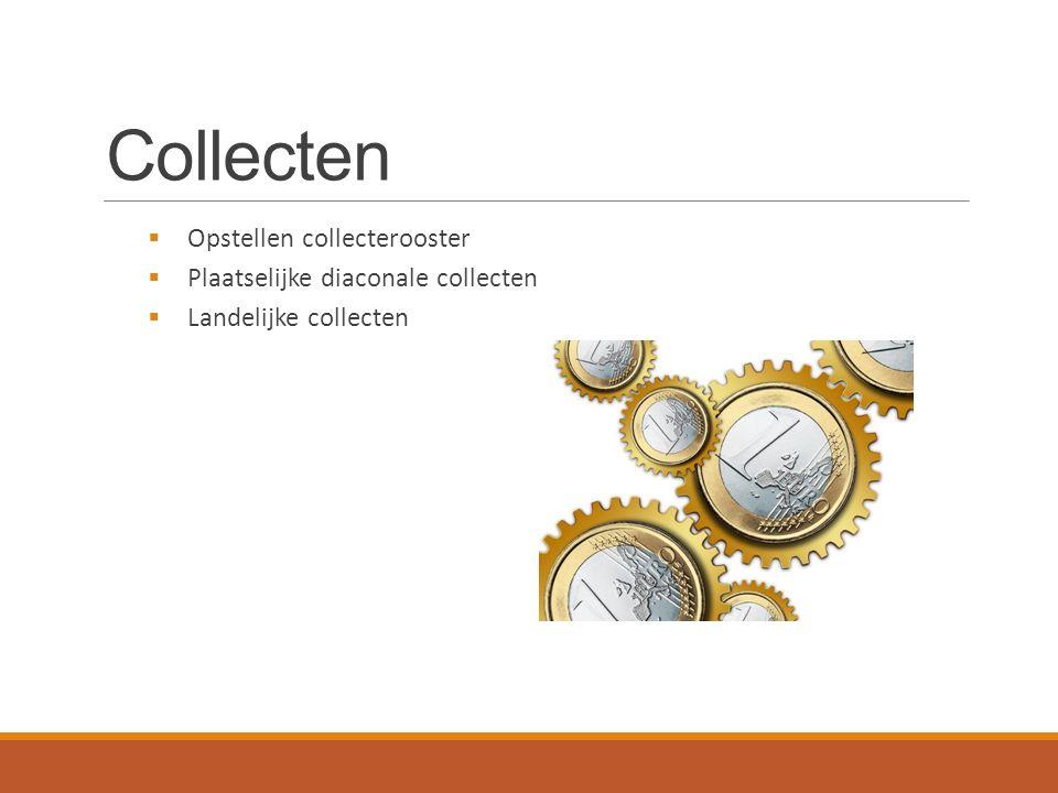 Collecten  Opstellen collecterooster  Plaatselijke diaconale collecten  Landelijke collecten