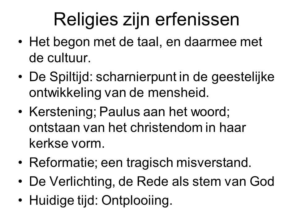 Religies zijn erfenissen Het begon met de taal, en daarmee met de cultuur.