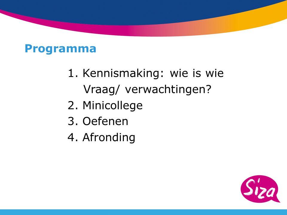 Programma 1. Kennismaking: wie is wie Vraag/ verwachtingen 2. Minicollege 3. Oefenen 4. Afronding