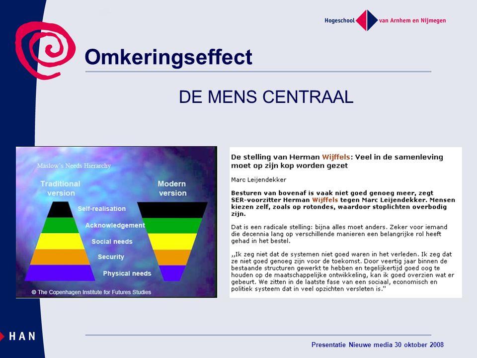 Presentatie Nieuwe media 30 oktober 2008 Omkeringseffect DE MENS CENTRAAL