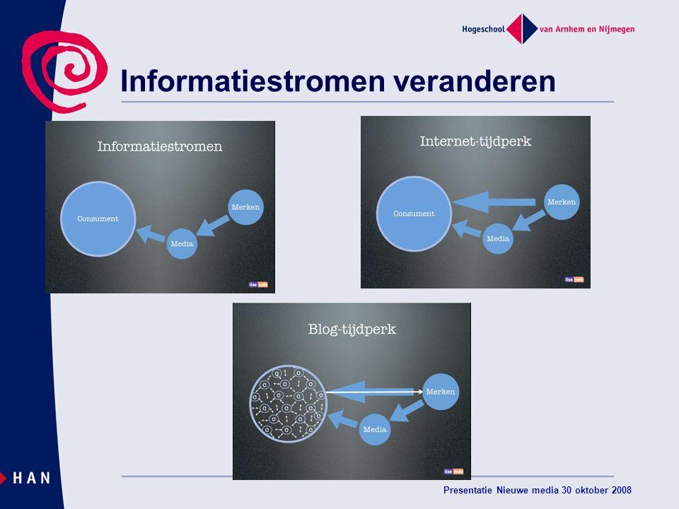 Presentatie Nieuwe media 30 oktober 2008 Informatiestromen veranderen