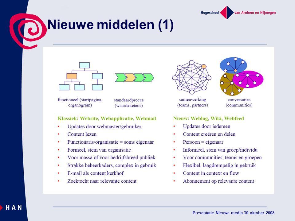 Presentatie Nieuwe media 30 oktober 2008 Nieuwe middelen (1)