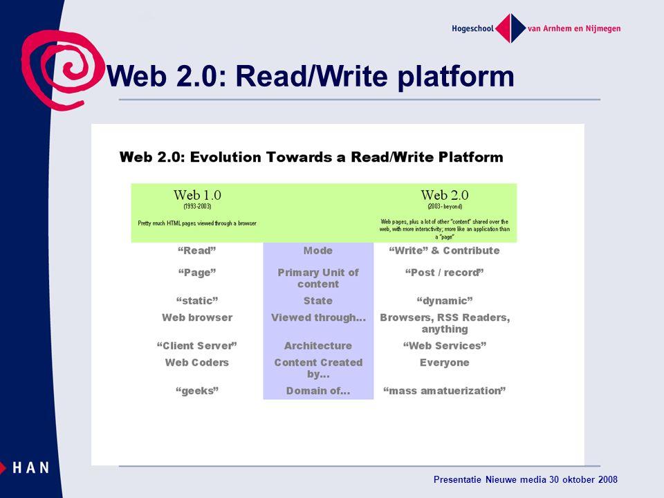 Presentatie Nieuwe media 30 oktober 2008 Web 2.0: Read/Write platform