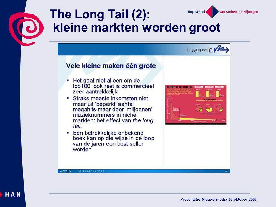 Presentatie Nieuwe media 30 oktober 2008 The Long Tail (2): kleine markten worden groot