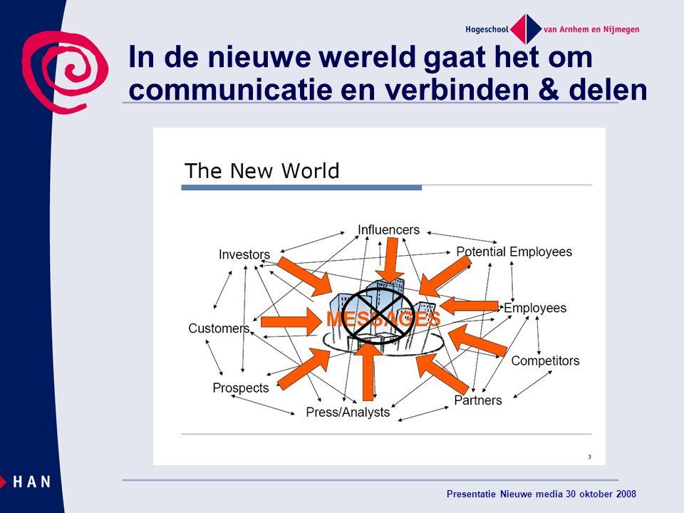 Presentatie Nieuwe media 30 oktober 2008 In de nieuwe wereld gaat het om communicatie en verbinden & delen