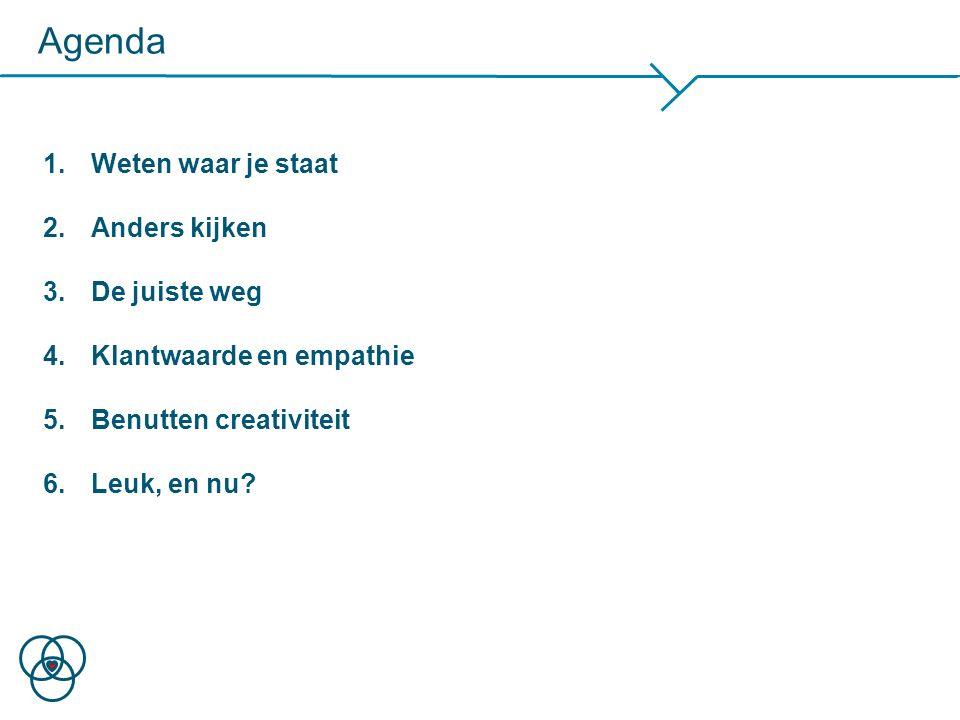 1.Weten waar je staat 2.Anders kijken 3.De juiste weg 4.Klantwaarde en empathie 5.Benutten creativiteit 6.Leuk, en nu? Agenda