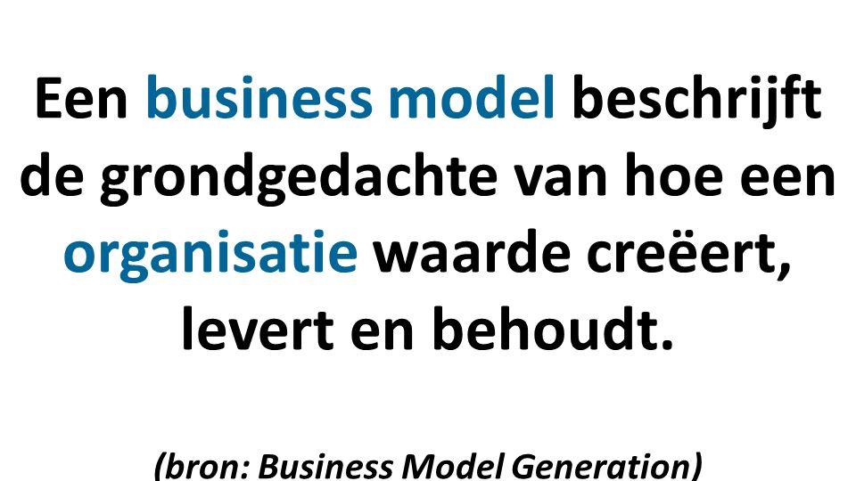 Een business model beschrijft de grondgedachte van hoe een organisatie waarde creëert, levert en behoudt.