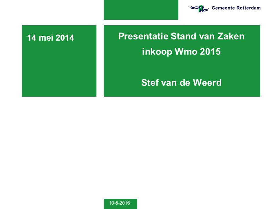 10-6-2016 Presentatie Stand van Zaken inkoop Wmo 2015 Stef van de Weerd 14 mei 2014