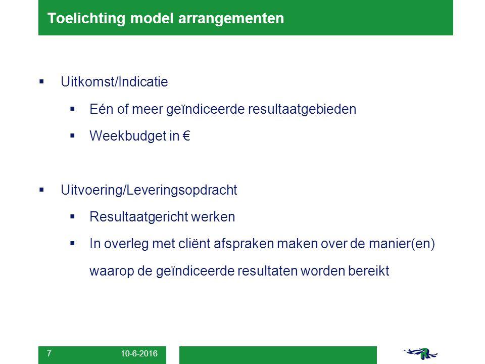 10-6-2016 7 Toelichting model arrangementen  Uitkomst/Indicatie  Eén of meer geïndiceerde resultaatgebieden  Weekbudget in €  Uitvoering/Leveringsopdracht  Resultaatgericht werken  In overleg met cliënt afspraken maken over de manier(en) waarop de geïndiceerde resultaten worden bereikt
