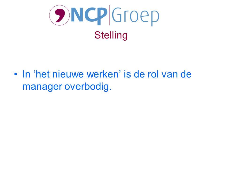 In 'het nieuwe werken' is de rol van de manager overbodig. Stelling
