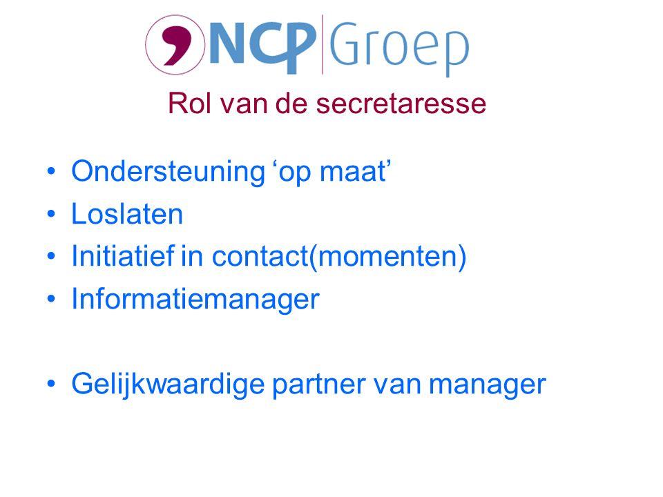 Ondersteuning 'op maat' Loslaten Initiatief in contact(momenten) Informatiemanager Gelijkwaardige partner van manager Rol van de secretaresse
