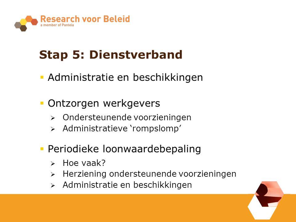 Stap 5: Dienstverband  Administratie en beschikkingen  Ontzorgen werkgevers  Ondersteunende voorzieningen  Administratieve 'rompslomp'  Periodieke loonwaardebepaling  Hoe vaak.