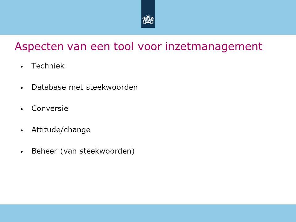 Aspecten van een tool voor inzetmanagement Techniek Database met steekwoorden Conversie Attitude/change Beheer (van steekwoorden)