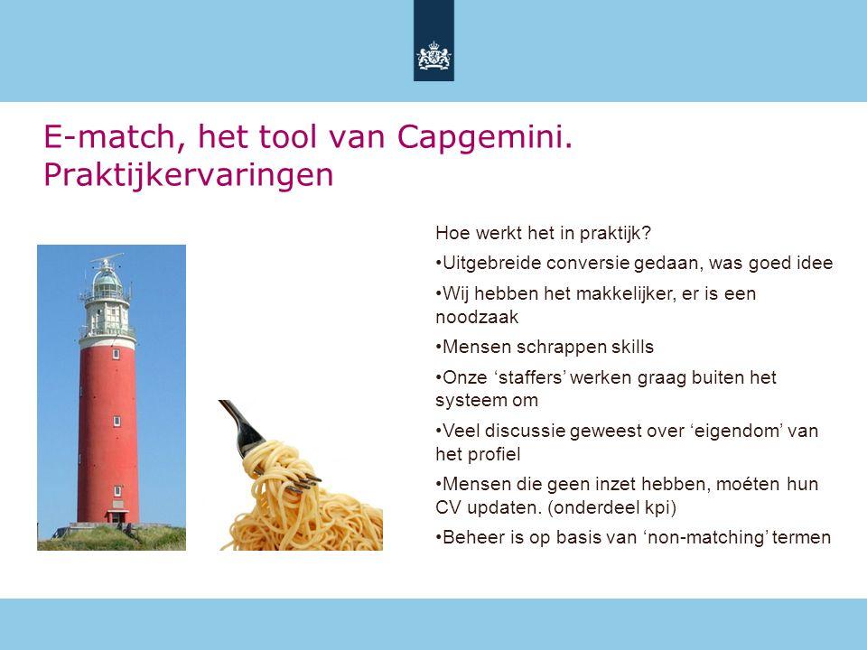 E-match, het tool van Capgemini. Praktijkervaringen Hoe werkt het in praktijk.