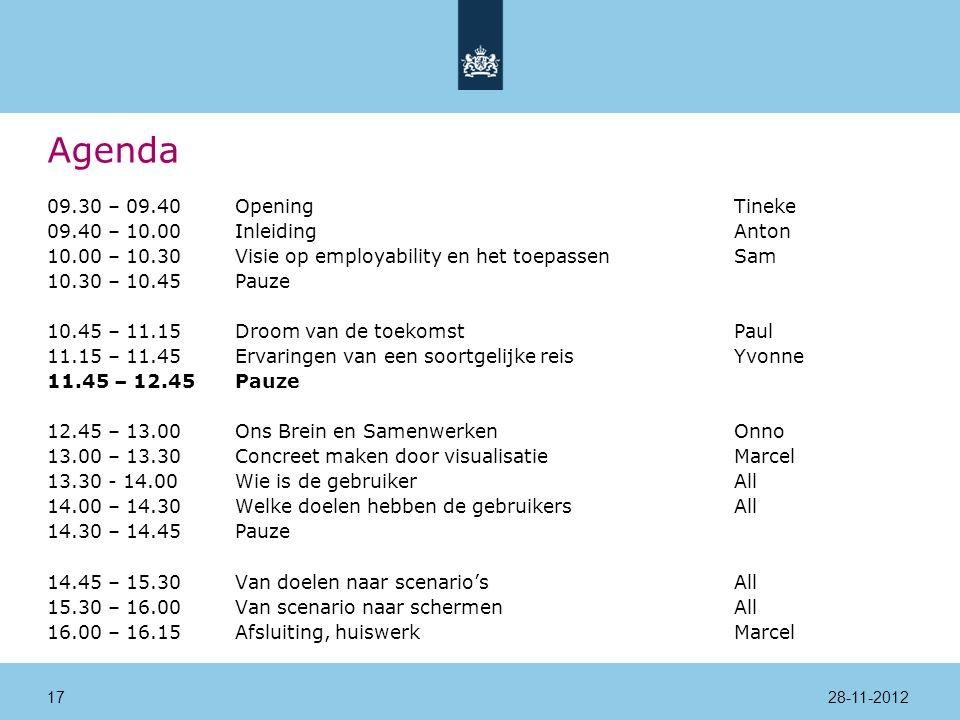 Agenda 09.30 – 09.40Opening Tineke 09.40 – 10.00InleidingAnton 10.00 – 10.30Visie op employability en het toepassenSam 10.30 – 10.45Pauze 10.45 – 11.15Droom van de toekomstPaul 11.15 – 11.45Ervaringen van een soortgelijke reisYvonne 11.45 – 12.45Pauze 12.45 – 13.00Ons Brein en SamenwerkenOnno 13.00 – 13.30Concreet maken door visualisatieMarcel 13.30 - 14.00 Wie is de gebruikerAll 14.00 – 14.30Welke doelen hebben de gebruikersAll 14.30 – 14.45Pauze 14.45 – 15.30Van doelen naar scenario'sAll 15.30 – 16.00Van scenario naar schermenAll 16.00 – 16.15Afsluiting, huiswerkMarcel 28-11-201217
