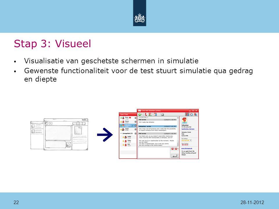 Stap 3: Visueel Visualisatie van geschetste schermen in simulatie Gewenste functionaliteit voor de test stuurt simulatie qua gedrag en diepte 28-11-201222