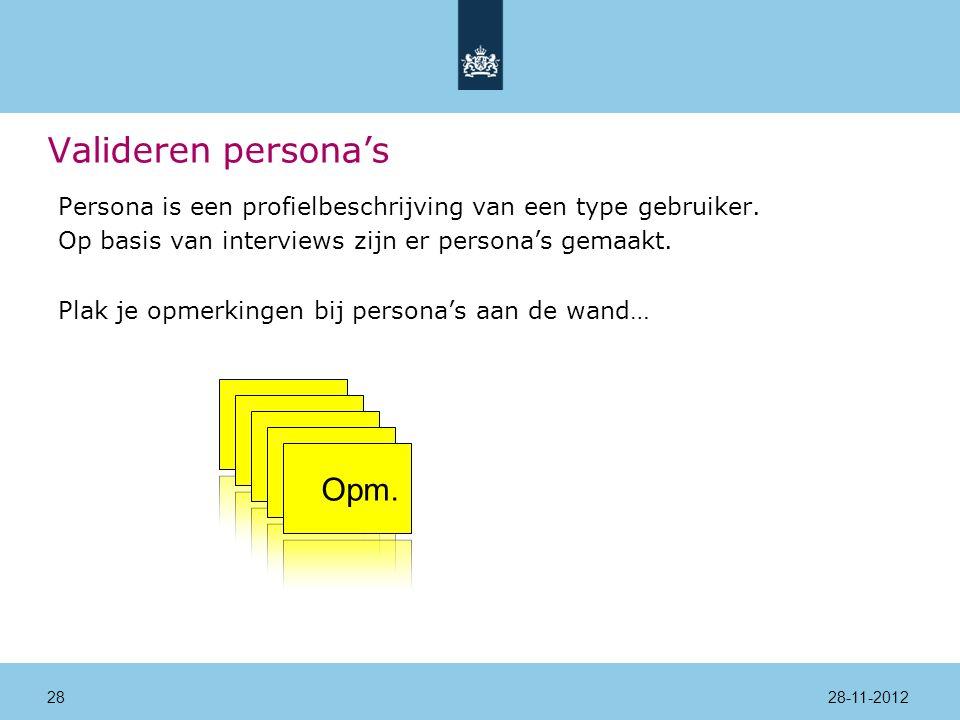 Valideren persona's Persona is een profielbeschrijving van een type gebruiker.