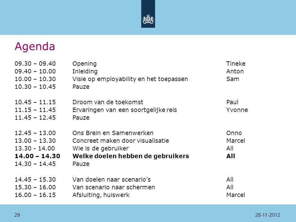 Agenda 09.30 – 09.40Opening Tineke 09.40 – 10.00InleidingAnton 10.00 – 10.30Visie op employability en het toepassenSam 10.30 – 10.45Pauze 10.45 – 11.15Droom van de toekomstPaul 11.15 – 11.45Ervaringen van een soortgelijke reisYvonne 11.45 – 12.45Pauze 12.45 – 13.00Ons Brein en SamenwerkenOnno 13.00 – 13.30Concreet maken door visualisatieMarcel 13.30 - 14.00 Wie is de gebruikerAll 14.00 – 14.30Welke doelen hebben de gebruikersAll 14.30 – 14.45Pauze 14.45 – 15.30Van doelen naar scenario'sAll 15.30 – 16.00Van scenario naar schermenAll 16.00 – 16.15Afsluiting, huiswerkMarcel 28-11-201229