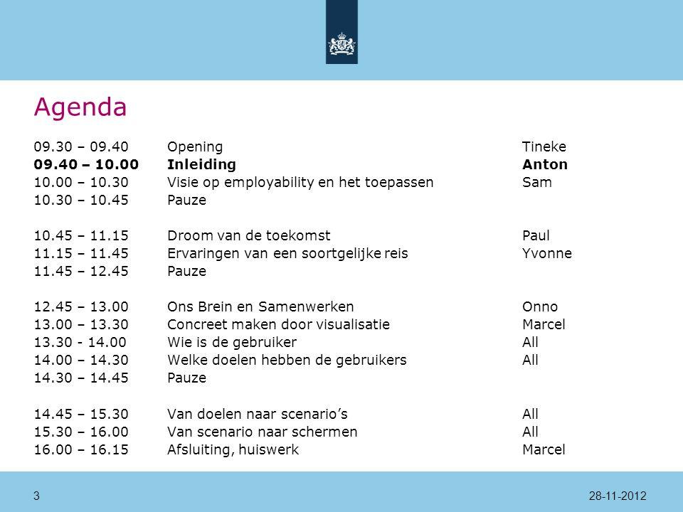 Agenda 09.30 – 09.40Opening Tineke 09.40 – 10.00InleidingAnton 10.00 – 10.30Visie op employability en het toepassenSam 10.30 – 10.45Pauze 10.45 – 11.15Droom van de toekomstPaul 11.15 – 11.45Ervaringen van een soortgelijke reisYvonne 11.45 – 12.45Pauze 12.45 – 13.00Ons Brein en SamenwerkenOnno 13.00 – 13.30Concreet maken door visualisatieMarcel 13.30 - 14.00 Wie is de gebruikerAll 14.00 – 14.30Welke doelen hebben de gebruikersAll 14.30 – 14.45Pauze 14.45 – 15.30Van doelen naar scenario'sAll 15.30 – 16.00Van scenario naar schermenAll 16.00 – 16.15Afsluiting, huiswerkMarcel 28-11-20124