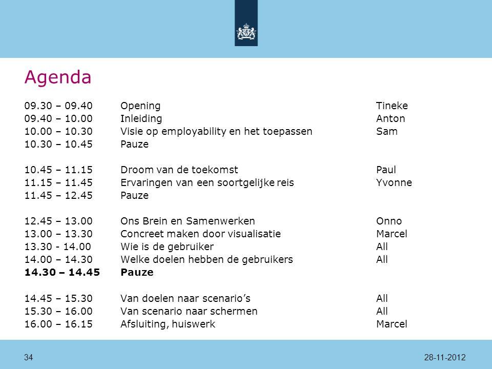 Agenda 09.30 – 09.40Opening Tineke 09.40 – 10.00InleidingAnton 10.00 – 10.30Visie op employability en het toepassenSam 10.30 – 10.45Pauze 10.45 – 11.15Droom van de toekomstPaul 11.15 – 11.45Ervaringen van een soortgelijke reisYvonne 11.45 – 12.45Pauze 12.45 – 13.00Ons Brein en SamenwerkenOnno 13.00 – 13.30Concreet maken door visualisatieMarcel 13.30 - 14.00 Wie is de gebruikerAll 14.00 – 14.30Welke doelen hebben de gebruikersAll 14.30 – 14.45Pauze 14.45 – 15.30Van doelen naar scenario'sAll 15.30 – 16.00Van scenario naar schermenAll 16.00 – 16.15Afsluiting, huiswerkMarcel 28-11-201234