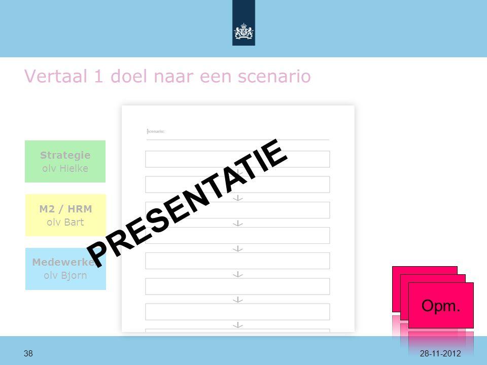 Vertaal 1 doel naar een scenario Strategie olv Hielke M2 / HRM olv Bart Medewerker olv Bjorn PRESENTATIE Opm.