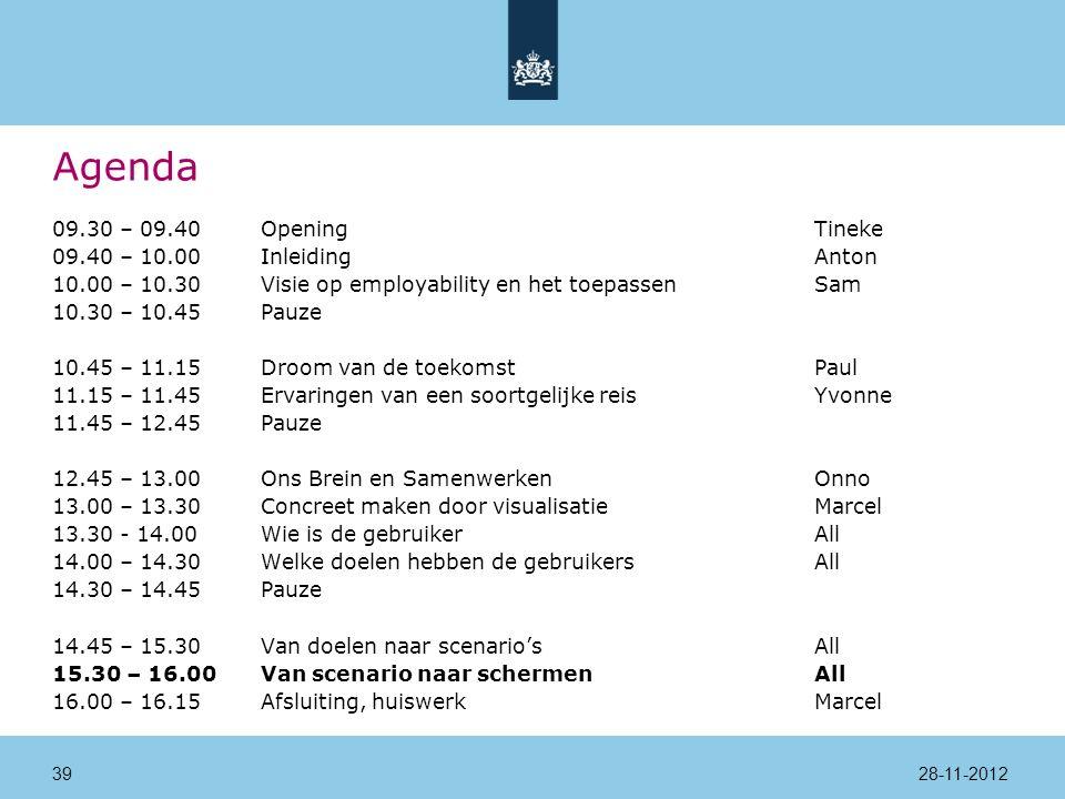 Agenda 09.30 – 09.40Opening Tineke 09.40 – 10.00InleidingAnton 10.00 – 10.30Visie op employability en het toepassenSam 10.30 – 10.45Pauze 10.45 – 11.15Droom van de toekomstPaul 11.15 – 11.45Ervaringen van een soortgelijke reisYvonne 11.45 – 12.45Pauze 12.45 – 13.00Ons Brein en SamenwerkenOnno 13.00 – 13.30Concreet maken door visualisatieMarcel 13.30 - 14.00 Wie is de gebruikerAll 14.00 – 14.30Welke doelen hebben de gebruikersAll 14.30 – 14.45Pauze 14.45 – 15.30Van doelen naar scenario'sAll 15.30 – 16.00Van scenario naar schermenAll 16.00 – 16.15Afsluiting, huiswerkMarcel 28-11-201239