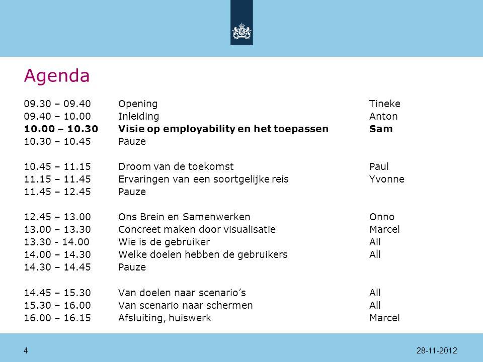 Agenda 09.30 – 09.40Opening Tineke 09.40 – 10.00InleidingAnton 10.00 – 10.30Visie op employability en het toepassenSam 10.30 – 10.45Pauze 10.45 – 11.15Droom van de toekomstPaul 11.15 – 11.45Ervaringen van een soortgelijke reisYvonne 11.45 – 12.45Pauze 12.45 – 13.00Ons Brein en SamenwerkenOnno 13.00 – 13.30Concreet maken door visualisatieMarcel 13.30 - 14.00 Wie is de gebruikerAll 14.00 – 14.30Welke doelen hebben de gebruikersAll 14.30 – 14.45Pauze 14.45 – 15.30Van doelen naar scenario'sAll 15.30 – 16.00Van scenario naar schermenAll 16.00 – 16.15Afsluiting, huiswerkMarcel 28-11-201235