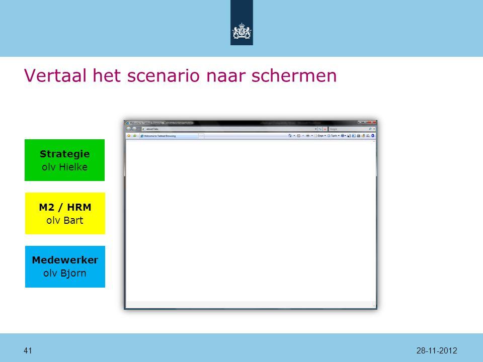 Vertaal het scenario naar schermen Strategie olv Hielke M2 / HRM olv Bart Medewerker olv Bjorn 28-11-201241