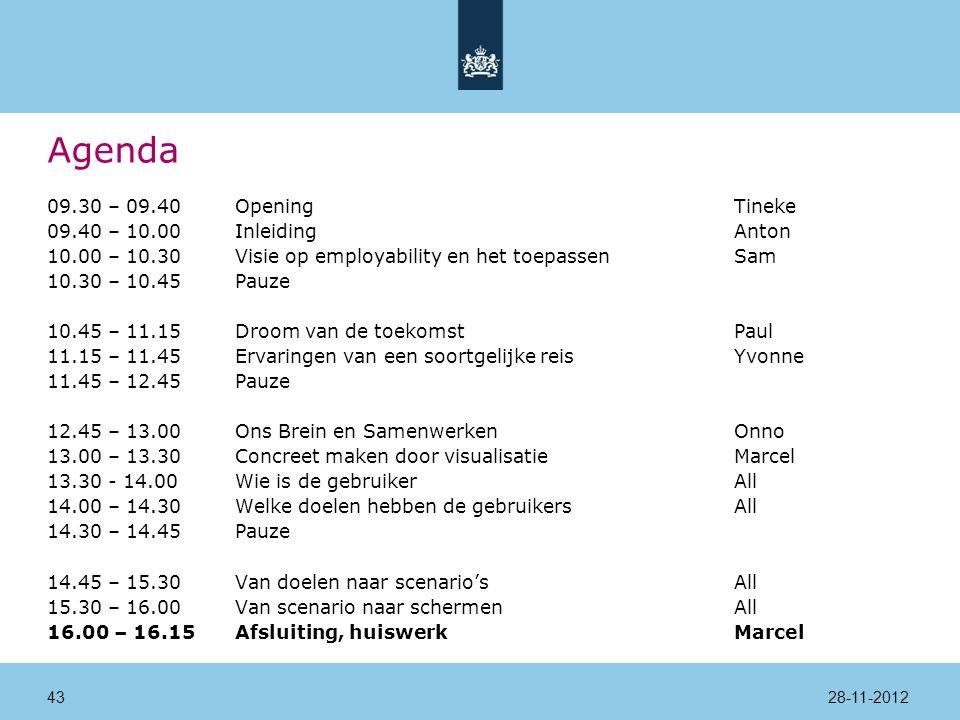 Agenda 09.30 – 09.40Opening Tineke 09.40 – 10.00InleidingAnton 10.00 – 10.30Visie op employability en het toepassenSam 10.30 – 10.45Pauze 10.45 – 11.15Droom van de toekomstPaul 11.15 – 11.45Ervaringen van een soortgelijke reisYvonne 11.45 – 12.45Pauze 12.45 – 13.00Ons Brein en SamenwerkenOnno 13.00 – 13.30Concreet maken door visualisatieMarcel 13.30 - 14.00 Wie is de gebruikerAll 14.00 – 14.30Welke doelen hebben de gebruikersAll 14.30 – 14.45Pauze 14.45 – 15.30Van doelen naar scenario'sAll 15.30 – 16.00Van scenario naar schermenAll 16.00 – 16.15Afsluiting, huiswerkMarcel 28-11-201243