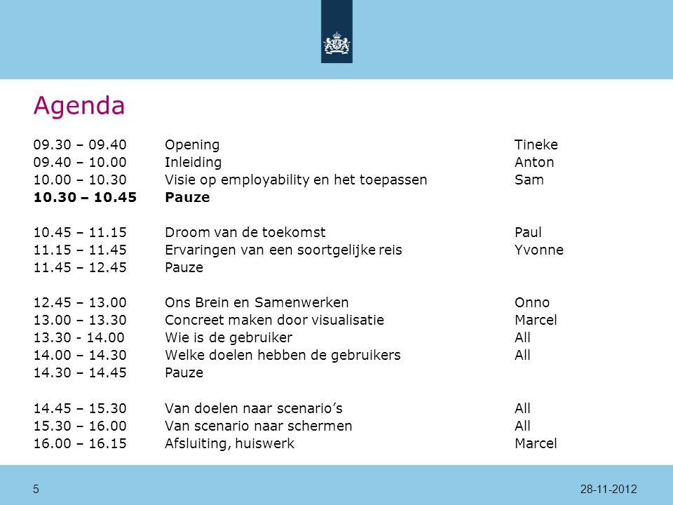 Agenda 09.30 – 09.40Opening Tineke 09.40 – 10.00InleidingAnton 10.00 – 10.30Visie op employability en het toepassenSam 10.30 – 10.45Pauze 10.45 – 11.15Droom van de toekomstPaul 11.15 – 11.45Ervaringen van een soortgelijke reisYvonne 11.45 – 12.45Pauze 12.45 – 13.00Ons Brein en SamenwerkenOnno 13.00 – 13.30Concreet maken door visualisatieMarcel 13.30 - 14.00 Wie is de gebruikerAll 14.00 – 14.30Welke doelen hebben de gebruikersAll 14.30 – 14.45Pauze 14.45 – 15.30Van doelen naar scenario'sAll 15.30 – 16.00Van scenario naar schermenAll 16.00 – 16.15Afsluiting, huiswerkMarcel 28-11-20125