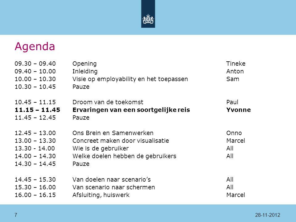 Agenda 09.30 – 09.40Opening Tineke 09.40 – 10.00InleidingAnton 10.00 – 10.30Visie op employability en het toepassenSam 10.30 – 10.45Pauze 10.45 – 11.15Droom van de toekomstPaul 11.15 – 11.45Ervaringen van een soortgelijke reisYvonne 11.45 – 12.45Pauze 12.45 – 13.00Ons Brein en SamenwerkenOnno 13.00 – 13.30Concreet maken door visualisatieMarcel 13.30 - 14.00 Wie is de gebruikerAll 14.00 – 14.30Welke doelen hebben de gebruikersAll 14.30 – 14.45Pauze 14.45 – 15.30Van doelen naar scenario'sAll 15.30 – 16.00Van scenario naar schermenAll 16.00 – 16.15Afsluiting, huiswerkMarcel 28-11-201218